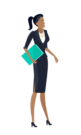 Businesswoman vector in flat design. Female character in business clothing with documents. Secretary, woman leader, feminist illustration for company ad, presentation, infographics. Isolated on white. Illustration