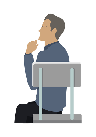 thinking person: Side view of businessman in blue sweater sitting on gray chair. Business people series. Thinking person. Isolated object in flat design on white background. Vector illustration. Illustration