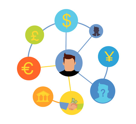 international banking: International currency exchange concept. World banking system. Money exchange and cost transferring illustration. Symbols of worlds important currencies. Dollar, pound, yen, euro. On white.