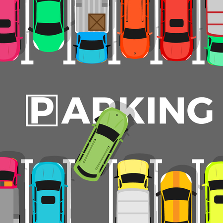 a lot: Parking conceptual web banner. Car leaves the parking place. Parking lot or car park. City parking structure. Parkade. Shortage parking spaces. Large number of cars in crowded parking. Urban infrastructure. Vector Illustration