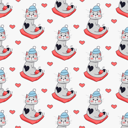saint valentine   s day: Pretty kitten in blue hat and red pillow. Saint Valentine s day concept. Seamless pattern with cat in warm winter cloth. Wallpaper design with cartoon character. Home feline in flat style design. Vector Illustration