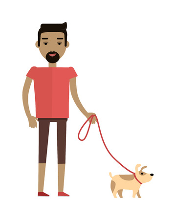 Young brunet man in red T-shirt and brown shorts walking his dog. Cartoon character, pet animal. Young man personage in flat design isolated on white background. Vector illustration.