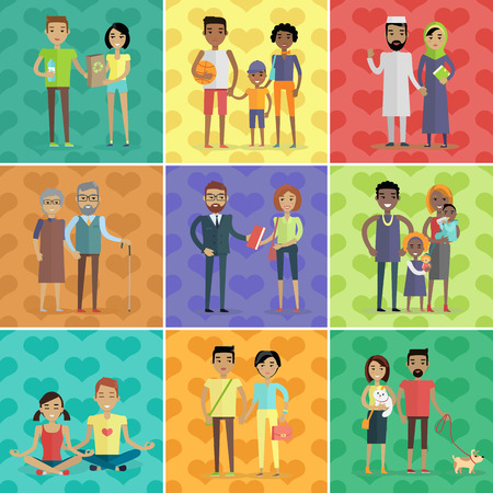 asian family: People of the world vector concept in flat design. Collection of couples with children. Peoples of all ages and human races in national clothes, different poses and variety professions. Vector