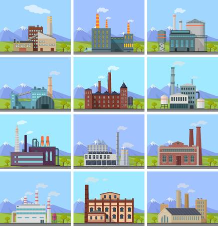 edificio industrial: Conjunto de banderas de construcción de plantas. Edificio de la fábrica de tubos de montaña de la naturaleza. planta industrial con los tubos. Planta con chimeneas humeantes. la producción ecológica, el concepto de la contaminación del aire