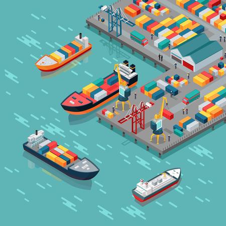 Magazijn haven vector concept. Isometrische projectie. Schepen met containers op de ligplaats bij de haven, kranen, arbeiders. auto's, hangars aan de wal. Transatlantisch rijtuig. Voor transport, bestemmingspagina bezorgingsbedrijf