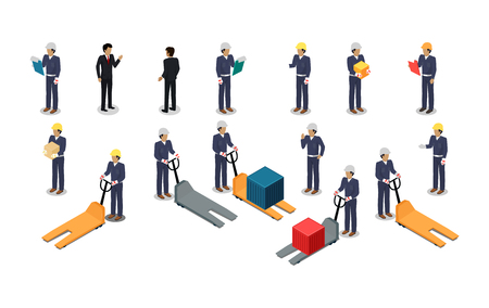 Set of employees of postal or warehouse company. Isometric projection. 3d vectors of manager, courier, worker in uniform, helmet with tablet, box and hydraulic transporter. Isolated on white Vettoriali