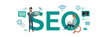 SEO 벡터 개념입니다. 검색 엔진 최적화 전문가. 인터넷 기술. 웹 개발자, 사업가, 인터넷 사용자 문자로 노트북. 프로모션 회사 광고의 평면 일러스트 일러스트