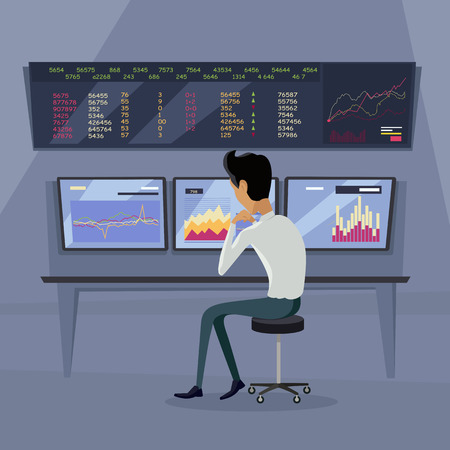 online trading: Modern online trading on stock exchange concept. Flat style design Monitoring of value indexes. Online trading technology. Brokerage trading on the web vector. Flat style design. Businessman at work.