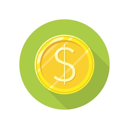 Dollar gold coin vector icon in flat style. Investment, gambling, savings, winings concept. Illustration for application button pictograms, infogpaphics elements, logo, web design. Isolated on white