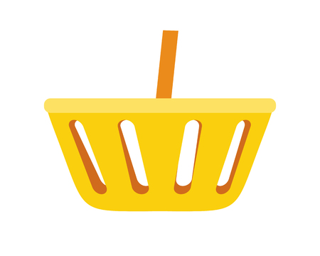 Simple shopping basket vector in flat style. Yellow plastic basket for goods in grocery store, supermarket. Accessories for trade. Illustration for shopping services, applications icons, logo design.