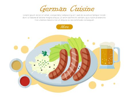 pint: German cuisine web banner. Grilled Bavarian sausages on plate with vegetable garnish, sauce and pint of beer flat vector illustration on white background. Oktoberfest. For restaurant web page design Illustration