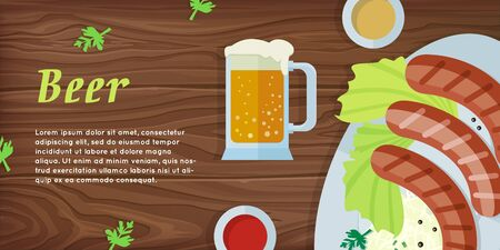 pint: Beer vector web banner. Grilled Bavarian sausages on plate with garnish, sauce and pint of beer flat illustration on wooden background. German national cuisine. Oktoberfest. For restaurant web page