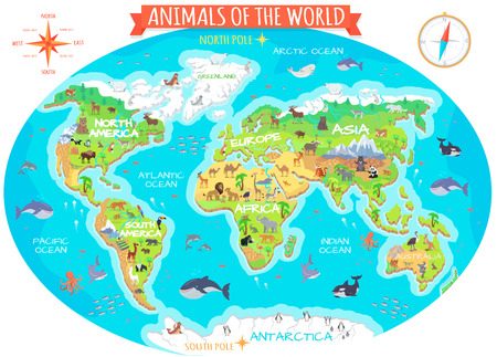 Animals of the world vector. Flat style. World globe with map of continents and different animals in their habitats. Northern, african, american, european, asian fauna. For children s book design