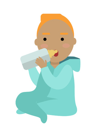 Adorable child drinking from bottle isolated on white. Little european baby drinks milk from the bottle. Small toddler sit and eat meal. Part of series of people of the world. Vector in flat style
