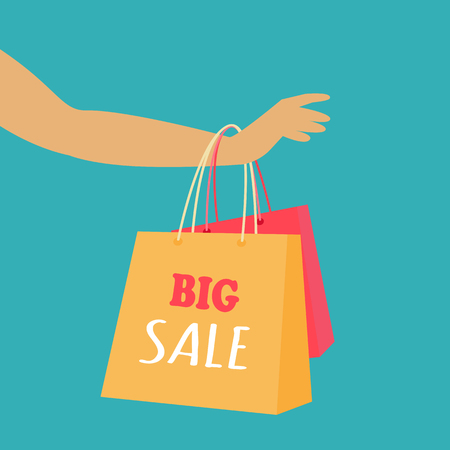Big sale in woman s clothing store. Color shopping paper bags hanging on a female hand flat vector illustration on blue background. Black friday. For seasonal sales and discounts promotions design
