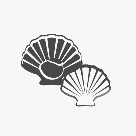mollusc: Oysters in monochrome variant. Seafood concept icons in flat style design. Vector illustration fresh deep-sea oyster. Beautiful shell pearl mussels.