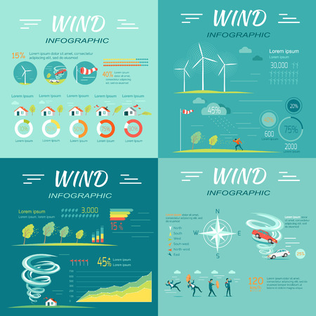 lifted: Set of wind infographic vectors. Flat style. People attacked wind, cars lifted vortex, compass rose,  topple trees, wind turbines illustrations, diagrams, data and text elements for climate concept Illustration