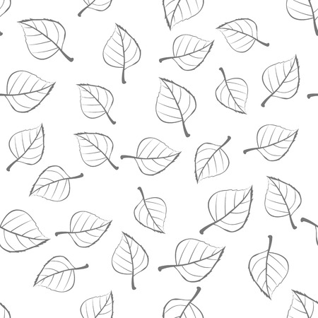 defoliation: Leaves vector seamless pattern. Flat style illustration. Falling colorless tree leaves on white background. Autumn defoliation. For wrapping paper, greeting card, invitation, printing materials design
