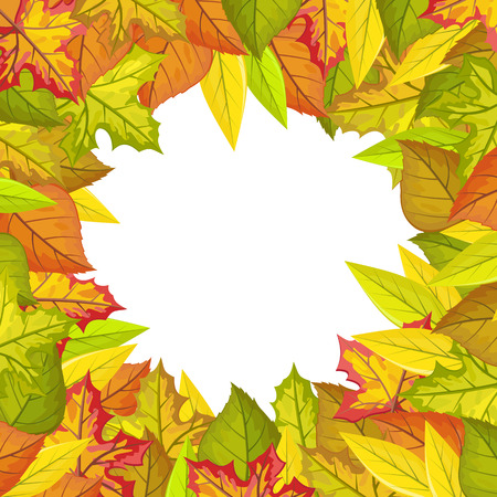 Autumn leaves vector frame. Flat style. Colored leaves of variety trees in circle with free white space in the centre. For photo decoration, nature concept, seasonal promotion and ad design Illustration