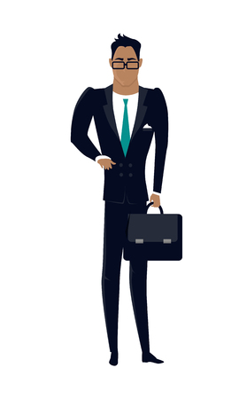 economist: Businessman vector in flat design. Male character in business clothing with briefcase in hand. Illustration for companies ad concepts, presentations, infographics. Isolated on white background..