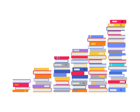 constantly: Stack of books in the form of stairs. Professional growth. Necessary to get knowledge constantly. Lifelong constant learning. Business education. Getting knowledge without rest. Vector illustration