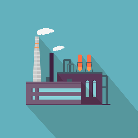 power industry: Factory with long shadow in flat style. Industrial factory building concept. Manufacturing plant building. Power electricity industry manufacturer icon. Manufacturer production technology. Vector Illustration