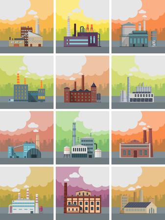 Conjunto de banderas de construcción de plantas. Edificio de la fábrica de tubos en el paisaje urbano. planta industrial con los tubos. Planta con chimeneas humeantes. la producción ecológica, el concepto de la contaminación del aire. Espacio libre.