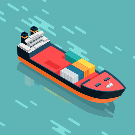 high sea: Container or cargo ship sailing in the sea. Multi-purpose vessel. Chemical or product tanker. Custom high speed picker boat. Carries cargo, goods, and materials from one port to another. Vector