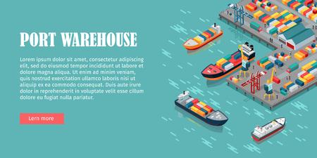 Warehouse poort vector conceptuele web banner. Isometrische projectie. Schepen met containers op de ligplaats in de haven, kranen, arbeiders. auto's, hangars aan de wal. Voor het transport, de levering bedrijf landing page