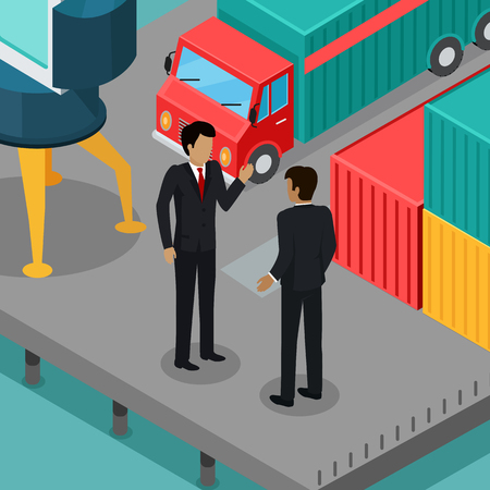 Business negotiations in the port concept. Vector in isometric projection. Two businessman talking on the berth with cargo car, metal containers, crane. Trade relations. For transport company ad Illustration