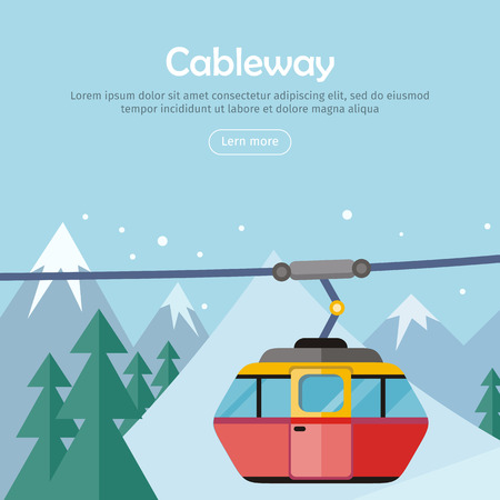 Cableway on mountain landscape. Cable car and snowy mountains design. Ski lift, trolley car, transportation tourism, travel cabin, snow winter, vacation and ropeway, elevator outdoor aerial. Vector