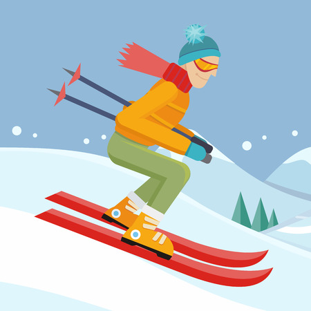 slope: Skier on slope vector illustration. Flat design. Man in ski suit sliding from hill. Winter entertainments, outdoor activity and sport. Extreme slalom. For mountain resort ad