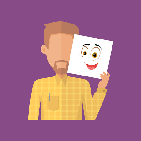 male portrait: Man character avatar vector. Flat style. Bearded male portrait with surprise, confusion, positive, fun, joy, sincerity, emotional mask. Illustration for identity in Internet, mood concepts, app icons