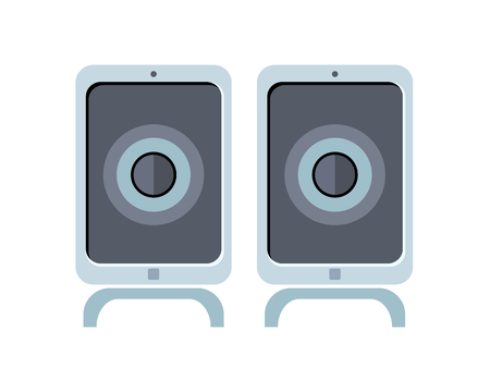 laptop mobile: Illustration of blue computer speakers. Multimedia Speakers for laptop or desktop computer. Audio system for mobile phones, computer, laptop. Isolated object on white background. Vector illustration