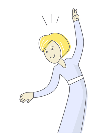 rejoices: Happy woman in blue dress dancing. Woman dancing icon. Successful woman having fun and dancing. Woman rejoices, celebrates his victory, success. Line art. Isolated object on white background. Illustration
