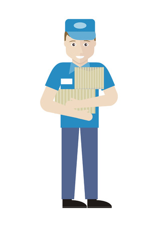 merchandiser: Profession series with young man sales assistant, merchandiser. Seller holds boxes in his hands. Shop assistant isolated on white. Salesman on his working place unpacking items. Vector illustration