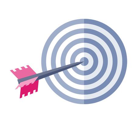 Pfeil in der Zielvektorikone. Flache Art. Targeting, Business-Wettbewerb, Strategie, Sport-Konzept. Illustration für Anwendungstastenpiktogramme, infogpaphics Elemente, Logodesign. Isoliert auf weiss