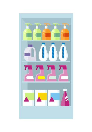 shelve: Shelve in shop with household chemicals vector. Assortment of household cleaners and cosmetics section in supermarket. Illustration for stores ad, shopping and merchandising concepts.