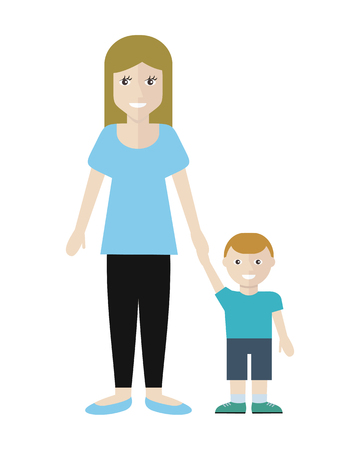 grocery store series: Woman and little boy isolated on white. Editabe element for shop design. Market shop interior, customer in mall, retail store, marketing. Part of series of people in supermarket interior. Vector Illustration