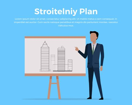 paperboard: Building plan concept vector. Flat design. Businessman standing and pointing finger on paperboard with buildings projects. Illustration for construction, engineering, architectural companies ad.