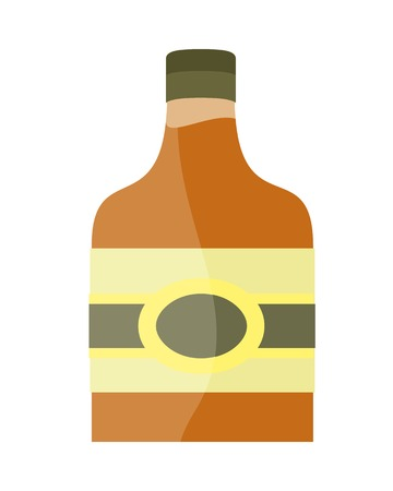 Bottle with alcohol vector in flat style. liqueur, brandy whiskey, cognac illustration for beverages concepts, grocery store advertising, icons, infograqphic element. Isolated on white background. Illustration