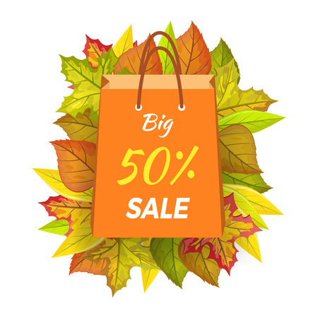 Big sale 50 percent. Autumn sale paper bag label template. Fall sale, autumn leaves on background, discount tag price, seasonal promotion. Foliage isolated. Autumn sale element. Vector illustration