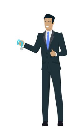 Feier: Business-Mann mit schwarzen Haaren in Business-Anzug und blauer Krawatte Holding Medaille. Gewinner Business-Konzept. Wirtschaftlicher Erfolg und Auszeichnung Konzept. Lächelnde junge Mann Persönlichkeit in flaches Design