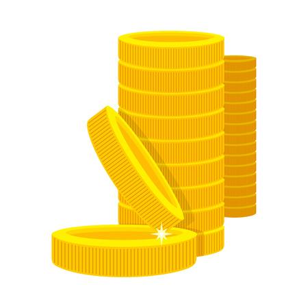 Golden coins in a stack in cartoon style. Golden money. Business success, bank credits, deposit, investment, saving, fortune concepts. Modern flat design. Golden money stack. Vector illustration. Illustration