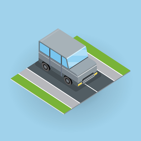 Car on road vector illustration in isometric projection. Jeep, minivan picture for transport, traffic, city concepts, web, app, icons, infographics, logotype design. Isolated on white background