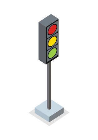 signal pole: Isometric traffic light icon. Traffic light on base. Standing is prohibited. City isometric object in flat. Drive safety. Isolated vector illustration on white background.