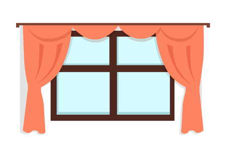 window view: Window with red curtains on white wall background. Fragment of the home interior. Home window view. Vintage curtain. Curtains icon. Window icon. Flat vector illustration on white background. Illustration