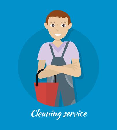 servicio domestico: Limpieza rótulo de servicio. Sonriente joven en uniforme azul con cubo de color rojo. servicio de limpieza de la casa, la limpieza profesional de la oficina, limpieza del hogar, servicio de limpieza doméstica. plantilla de página web.