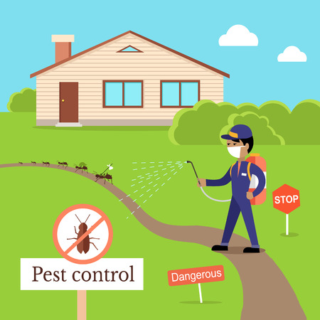 Pest control concept vector in flat design. Man in uniform with face mask spray pesticides from sprayer  near house. Chemical treatment against ants, termites, cockroaches, fleas, agricultural pests.