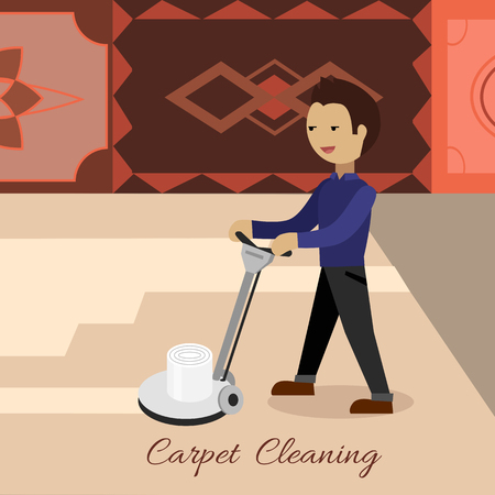 carpet clean: Carpet cleaning conceptual vector. Flat design. Male cleaner working with surface washing machine, carpets with ornaments on the wall. Illustration for cleaning companies and services advertising
